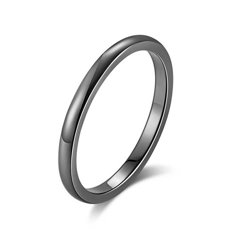 Proste 2MM obrączki ze stali nierdzewnej dla kobiet moda biżuteria hurtowych różowe złoto kolor pierścionki dla par 2020 gorąca sprzedaż