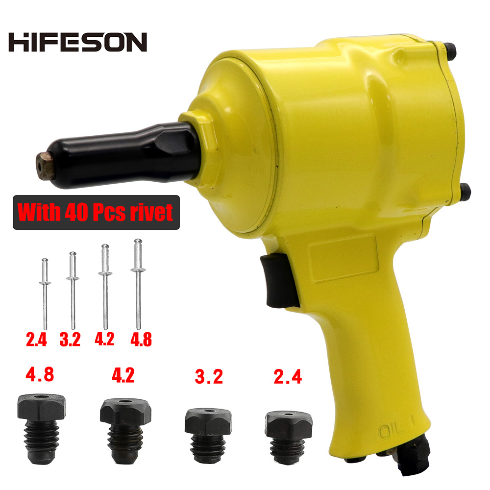 Pneumatic Air Blind Rivet Gun With 40 Pcs Nail Automatic POP Riveters Riveting Tool For 2.4mm 3.2mm 4.2mm 4.8mm