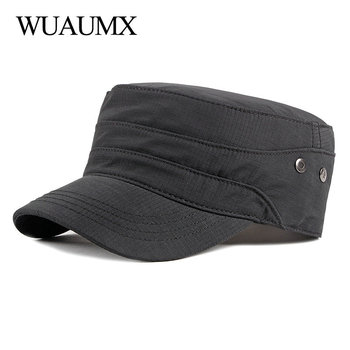 Wuaumx NEW Casual Military Hats For Men Women Flat Top Military Cap Spring Summer Army Cap Solid Sun Hat Adjustable kapelusz wuaumx casual military hats spring summer flat top baseball caps men women outdoor army cap mesh breathable casquette militaire