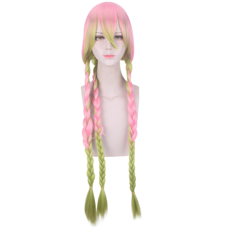 40Inch Long Cosplay Wig Ombre Pink Gradient Grass Green With Bangs Synthetic Braid Hair Cos Kanroji Mitsuri