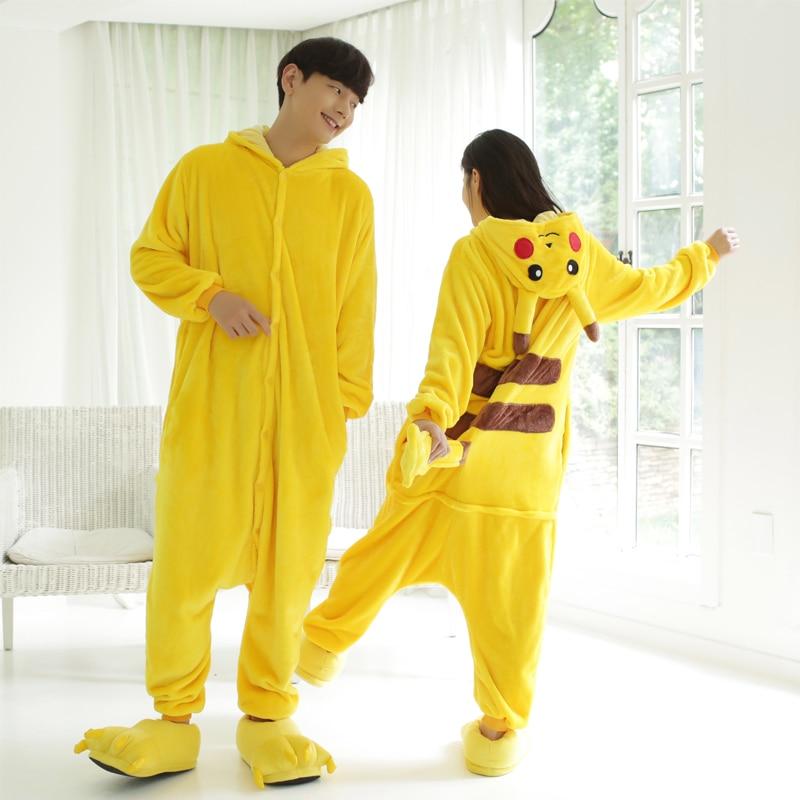 Flannel Kigurumi Unicorn For Women Onesies Pajamas 2019 Winter Animal Pikachu Pyjamas Adult Onesies Cosplay Cat Pijama Sleepwear