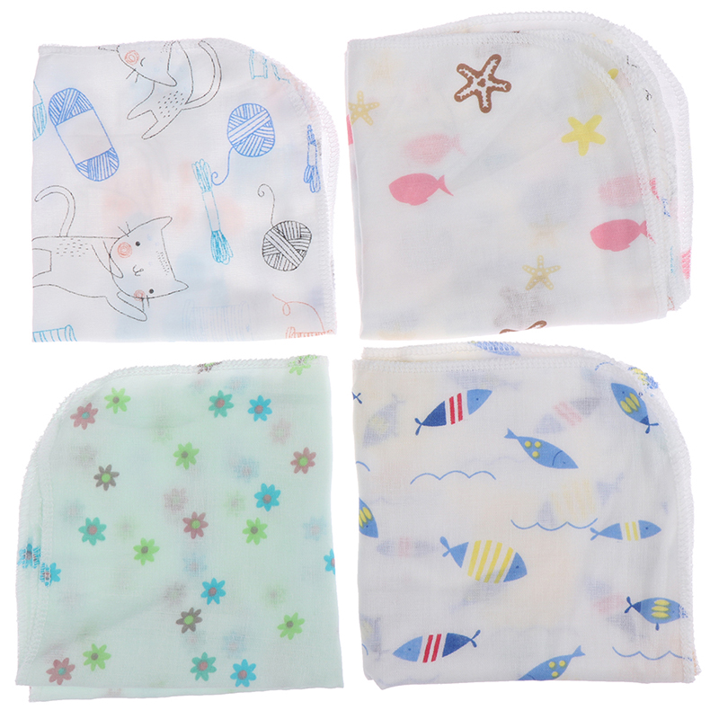 Baby Handkerchief Square Fruit Cartoon Pattern Towel Washed Muslin Cotton Infant Face Towel Wipe Cloth