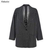 Polka Dot Blazer Women Plus Size Black Office Lady Oversized Loose Vintage Japan Style Suit Coat 2019 Spring Autumn Clothes Fashion Blazers