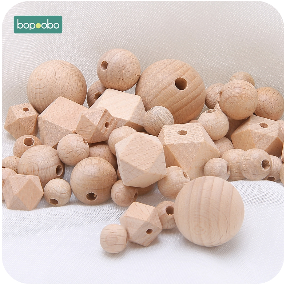 Bopoobo 100pc 8-25mm Beech Wood Teether Wooden Beads Chewable Wood Tiny Rod Teething Hexagon Beads Diy Pendant Crafts Accessory