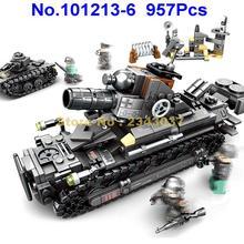 101213-6 957 шт 4в1 Военный танк тигр немецкая армия ww2 военные строительные блоки 4 фигурки игрушки