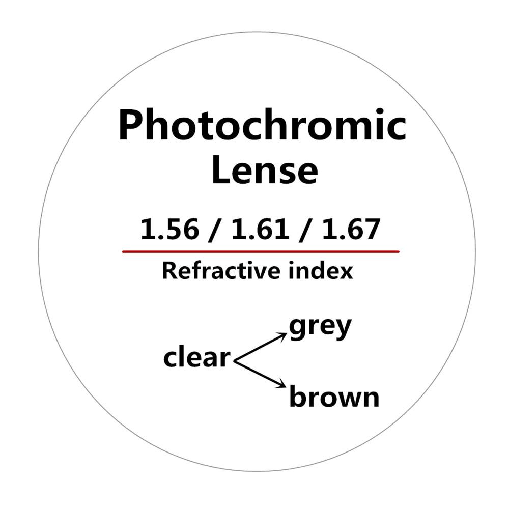 1.56/1.61/1.67Refractive index anti-radiation outdoor photochromic optical spectacle lenses with progressive prescription lenses