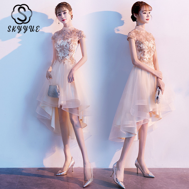Skyyue High Collar Bridesmaid Dress FR455 Appliques A-Line Robe De Soiree Gold Short Sleeve Wedding Party Gowns Sequined Dresses