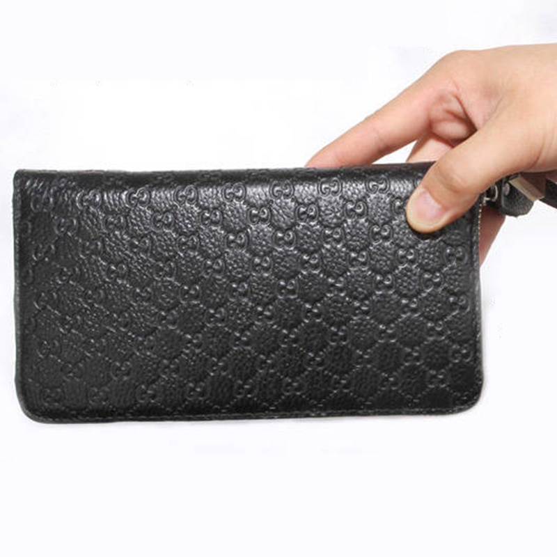 Men Wallets Black high quality genuine leather Long Purse Business phone Card Holder Zipper faucet Crocodile Pattern slim clutch in Wallets from Luggage Bags
