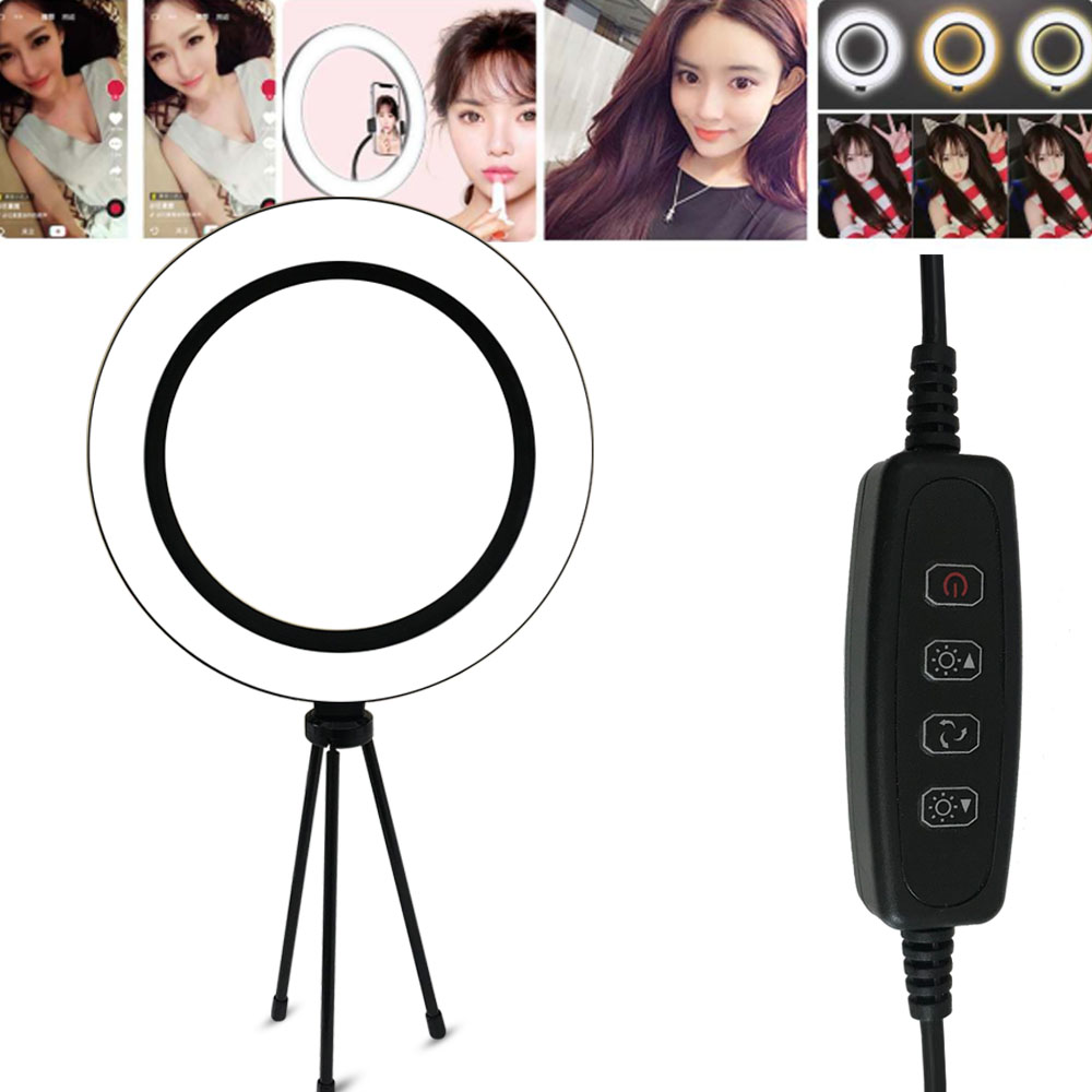 Adjustable Ring Light Dimmable Phone LED Ring Lamp With Table Stand For Selfie Camera Photography Makeup Video Live Streaming