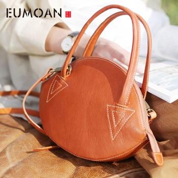 EUMOAN Original literary handbag retro Sen shell bag ethnic style handmade leather handbags leather shoulder bag
