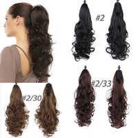 7 couleurs femmes bouclés griffe longue queue de cheval noir brun synthétique vague cheveux griffe queue de cheval pour noir blanc femmes
