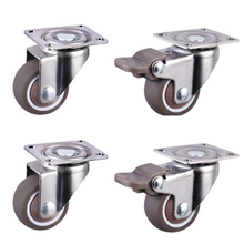 Furniture Casters Wheels Accessori Chair Platform-Trolley Soft-Rubber Household Silver