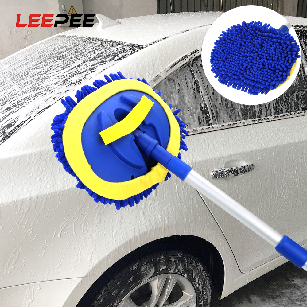 LEEPEE Car Wash Brush Cleaning Mop Car Cleaning Tools Telescoping Long Handle Chenille Broom Car Cleaning Brush