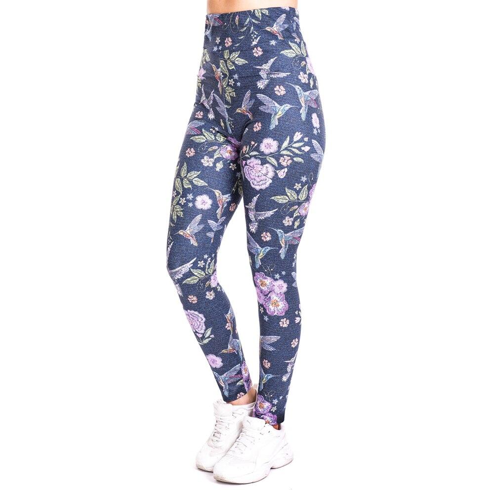 High Waist Workout Jogging For Women Athleisure Training Leggings Humming bird imitate Jeans Print Legging Pants