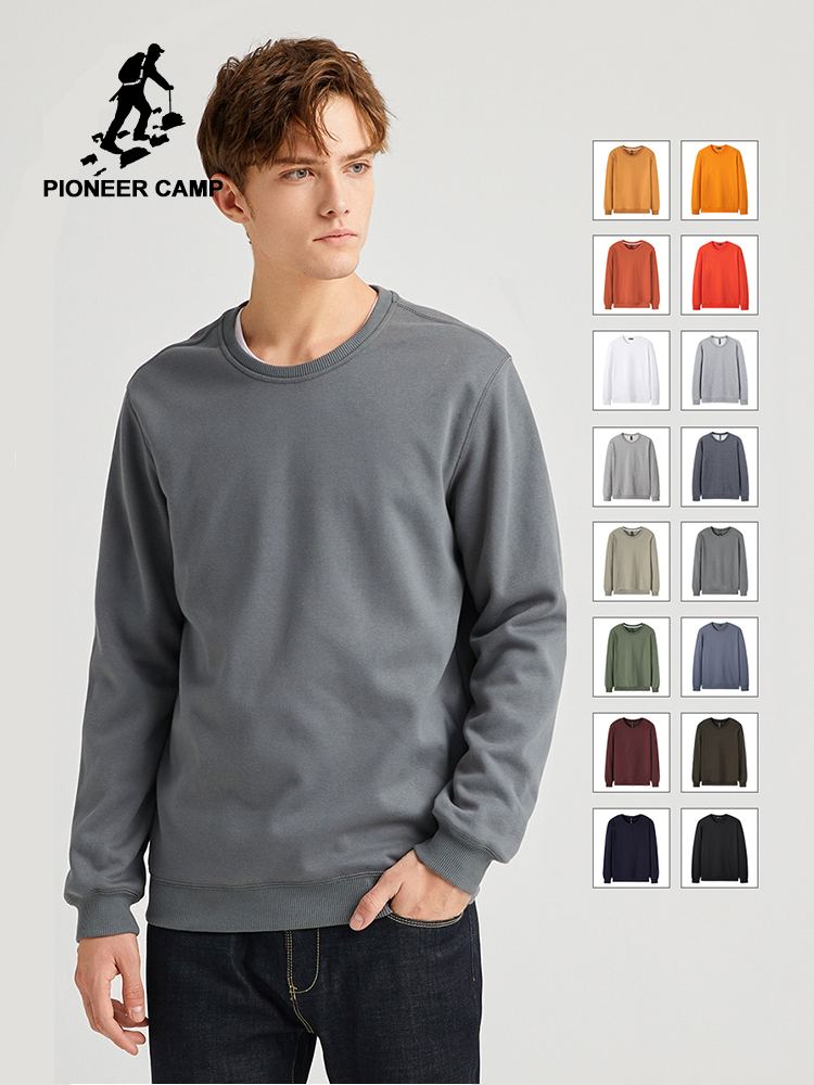 Pioneer Camp 2020 Spring Summer Solid Hoodies Sweatshirts Men O-neck Cotton Causal Streetwear Basic Pullover 305083