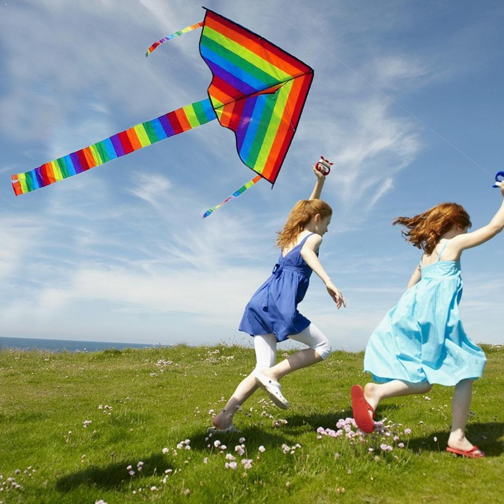 Large Colorful Rainbow Kite Long Tail Nylon Outdoor 30m Surf Kids Toys Flying Kid With Kite Kites Outdoor Line For Children I3E5