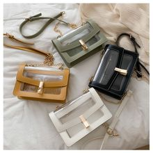 Summer trend Korean ladies version of the chain shoulder diagonal small square bag wild casual transparent lock
