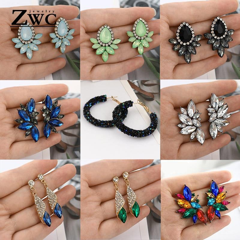 ZWCX Fashion Vintage Korean Multicolor Zircon Drop Earrings for Women Girls Engagement Party Charm Rhinestone Earrings Jewelry