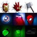 Marvel  Мстители  светодиодный настенный светильник для спальни  гостиной  3D  креативный свет  Железный человек  для человека-паука  Халка  Дэдп...