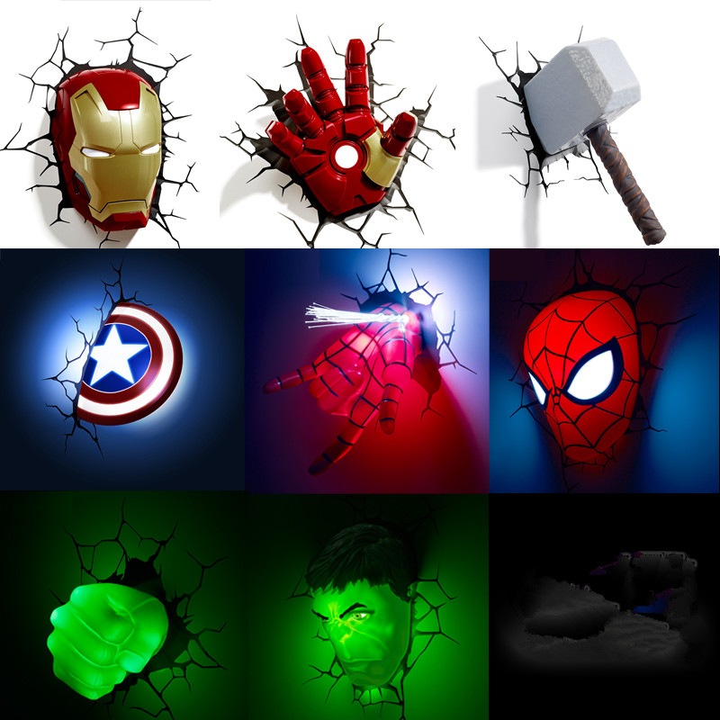 Marvel avengers LED lámpara de pared dormitorio sala de estar 3D luz creativa Ironman para Spiderman Hulk Deadpool capitán americano Quake