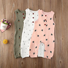 Summer Baby Casual Sleeveless Rompers Newborn Baby Girl Boy Clothes Cactus Print Romper Jumpsuit Soft Baby Outfit 2017 newborn summer rompers cute deer roupa de bebes baby girl boy jumpsuit floral romper infantil outfit clothes coveralls