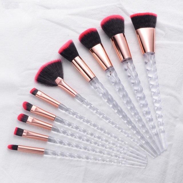 10pcs Unicorn Makeup Brushes Sets Maquiagem Foundation Powder Cosmetic Blush Eyeshadow Women Beauty Glitter Make Up Brush Tools 4