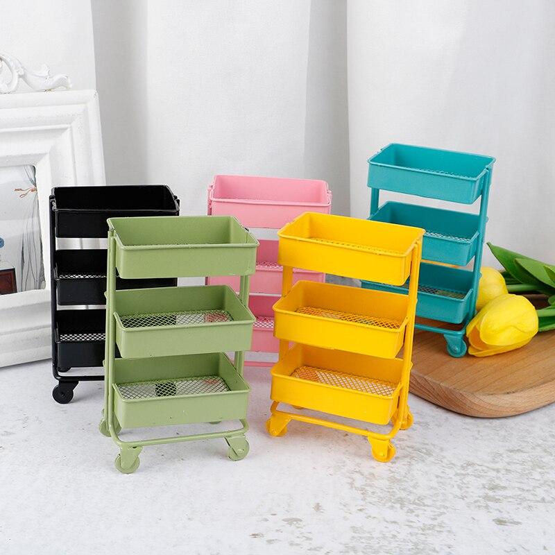 1:12 Scale Miniature Storage Shelf Display Rack w// 4 Wheels Dollhouse Black