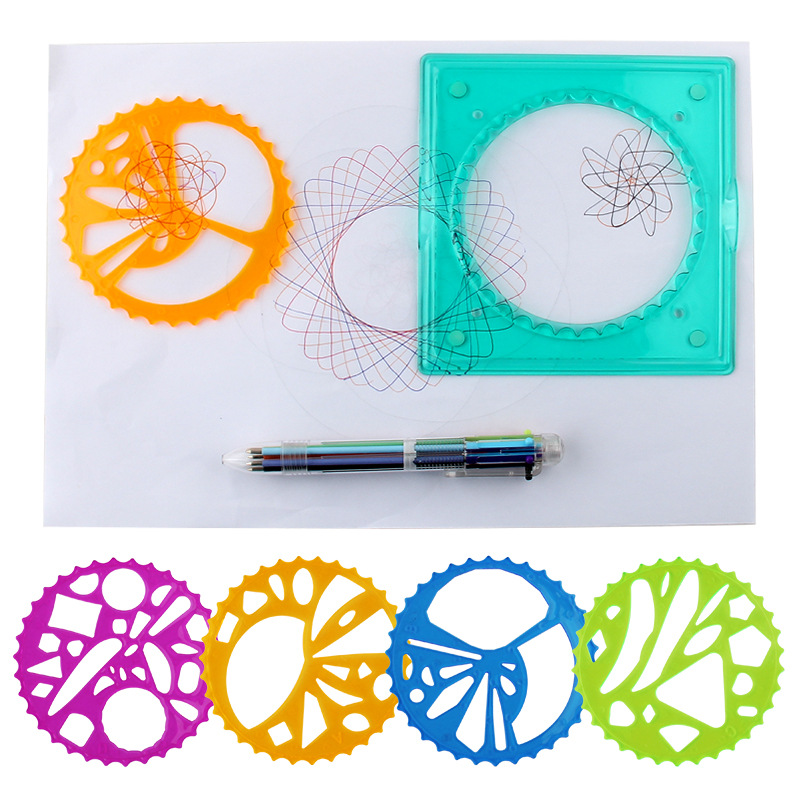 Children Creative Fine Art Mapping Flexible Spirograph Fantasy Set Bustling Curve Gear Painted Template Tool