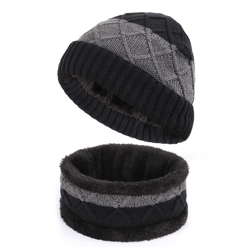 Men Hat Scarf Set Winter Knit Beanie Warm Beanie Fleece Acrylic Outdoor Accessory Skiing Snow Headwear