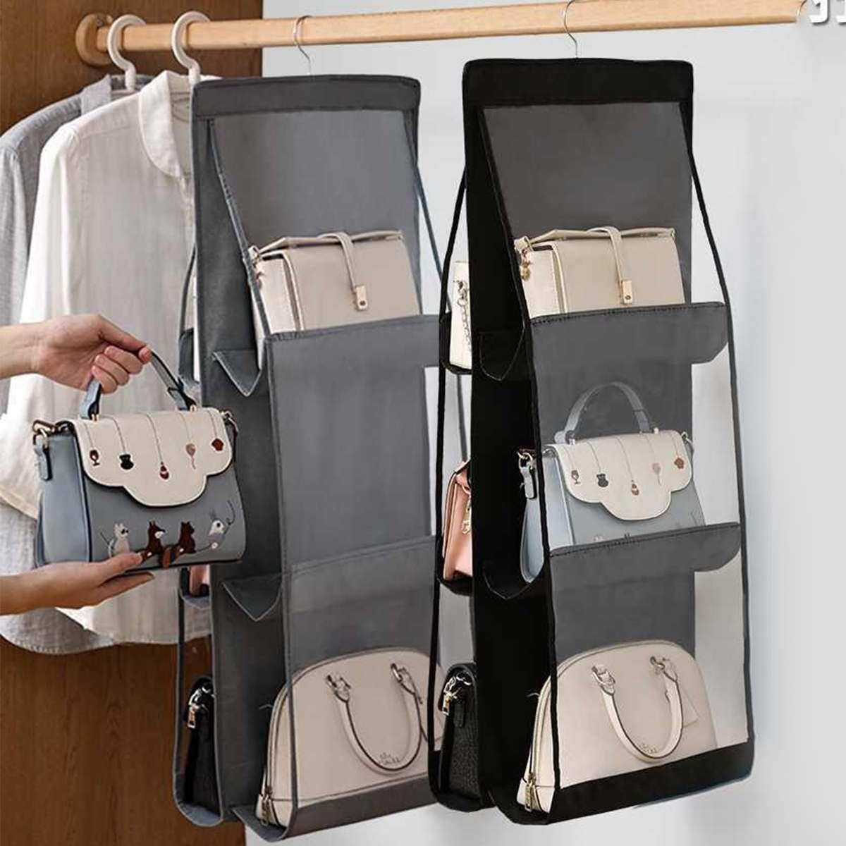 Double-sided Six-layer Hanging Handbag Organizer Shelf Bag Storage Holder Closet Wardrobe Bag Organizer Hanger