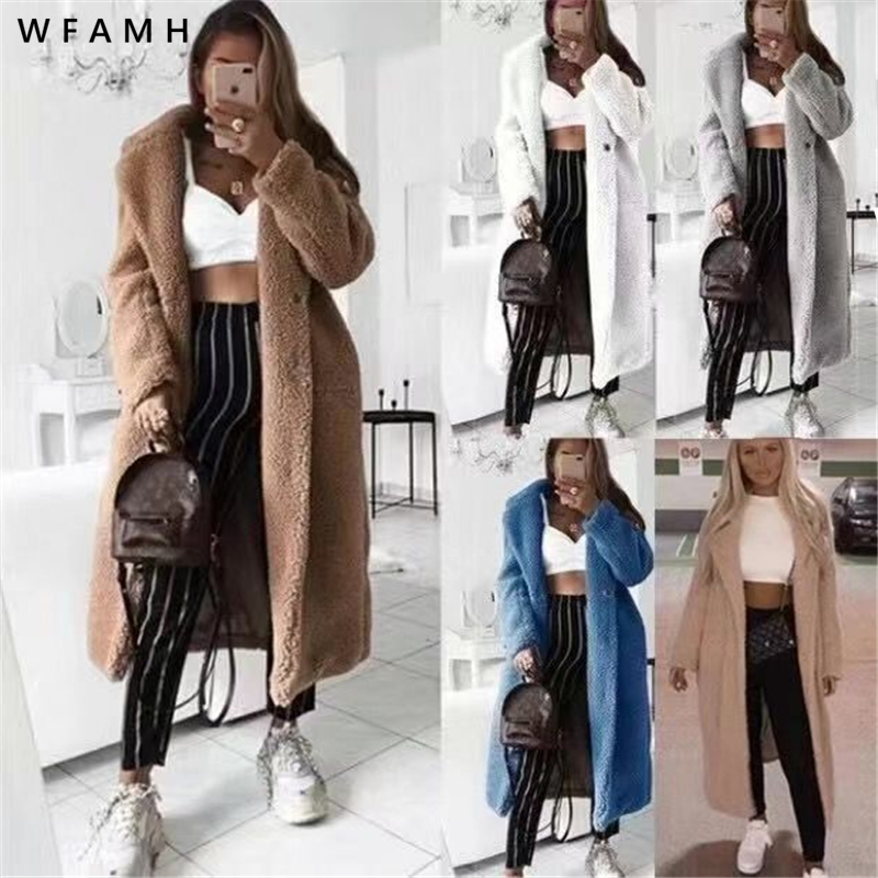 Retro Large Size Thick Artificial Fur Coat Autumn And Winter Women 2020 Casual Loose Solid Color Long Teddy Women Coat Up To 5XL