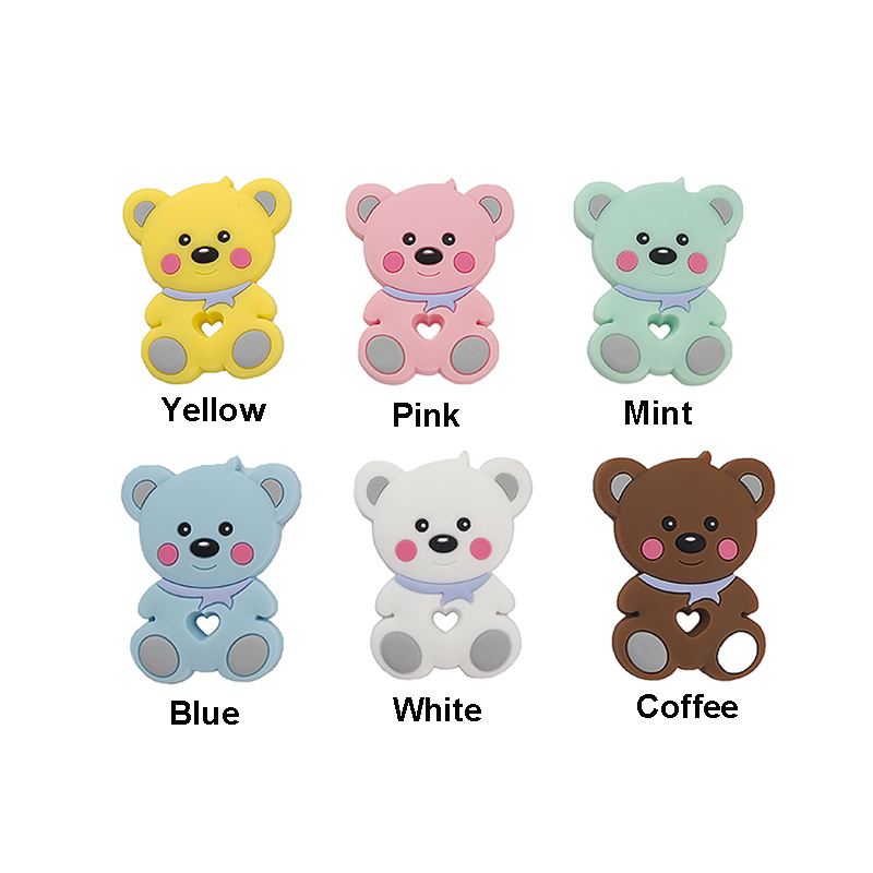 Купить с кэшбэком Chenkai 10PCS Silicone Teether Car Elephant Koala Butterfly Flamingo Bunny Baby Pacifier Dummy Rabbit Teething Pendant