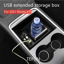 Nouvelle boîte d'accoudoir de voiture Tesla modèle 3 Y 2021, conteneur de rangement, Console centrale floquée, support de Console