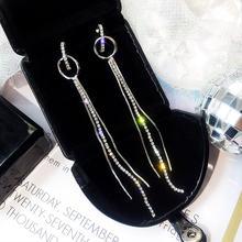 Женские длинные серьги обручи kpop цепочки с кисточками и стразами