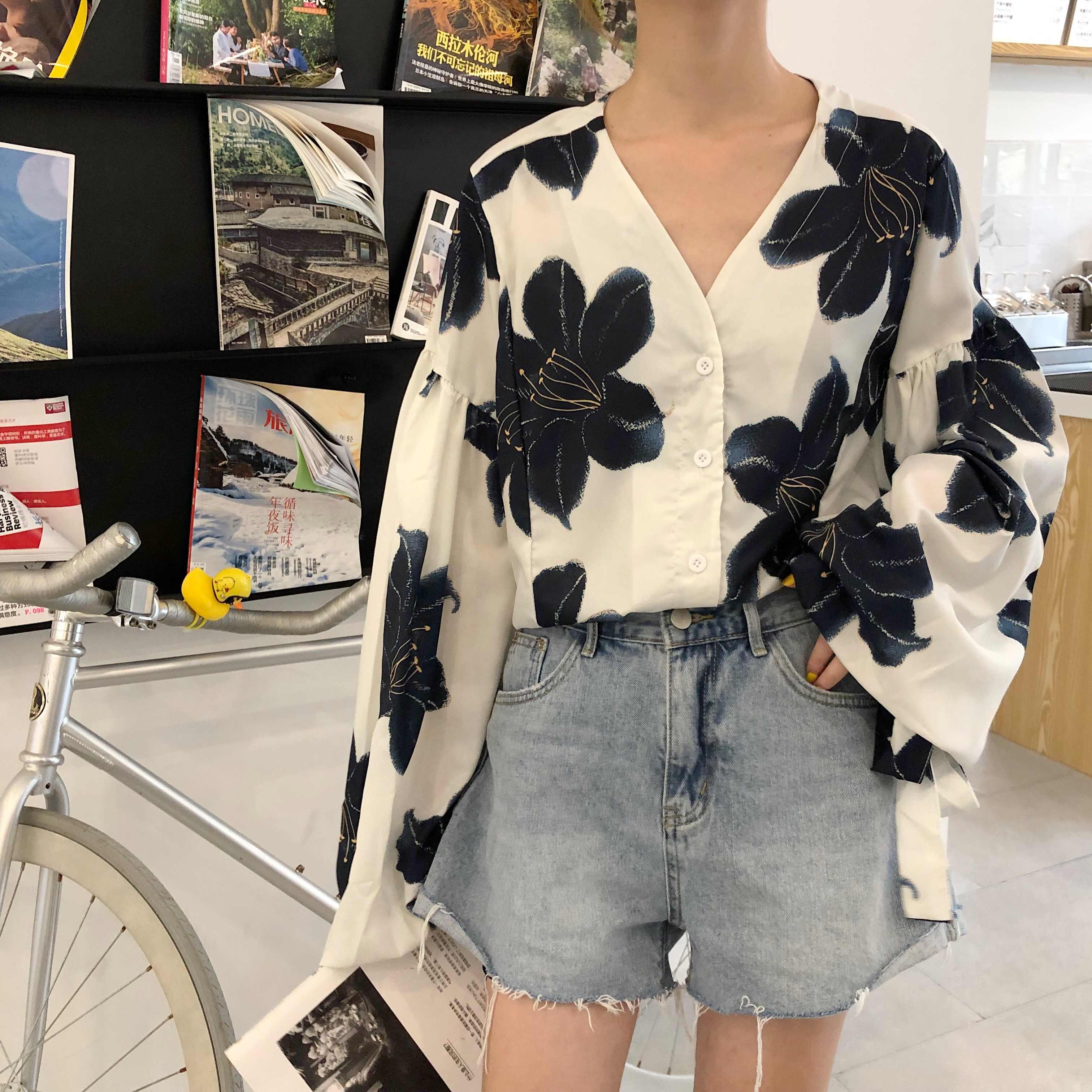 WHITNEY WANG Blouses 2020 printemps mode Streetwear lanterne manches Florals imprimé en mousseline de soie Blouse femmes Blusas dame petit haut