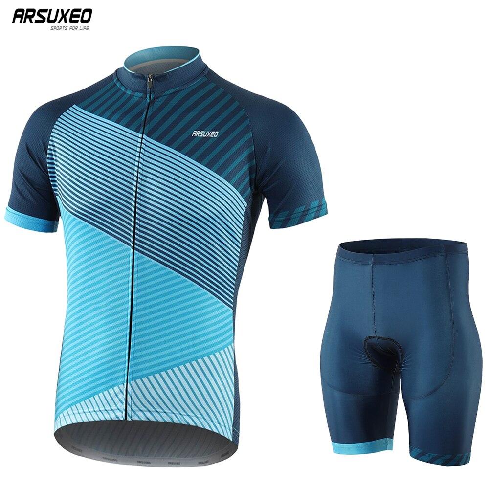 Men Cycling Short Sleeves MTB Jersey Bike Bicycle Set Shirts Padded Clothing Set