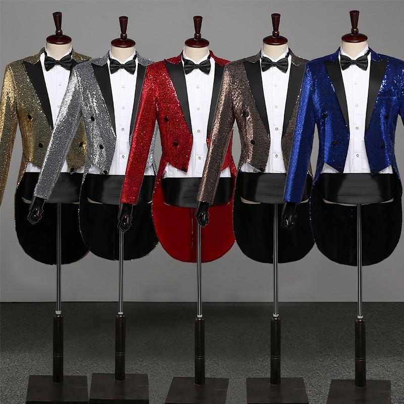 Presided Over 2020 Men Sequins Dovetail Suit Multicolor MC Studio Performs Tuxedo