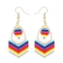 Rainbow Bead Earring Handmade Jewelry For Women Colorful Beads Ear Ring Gold Plated Dangle Jewellery Miyuki Earrings