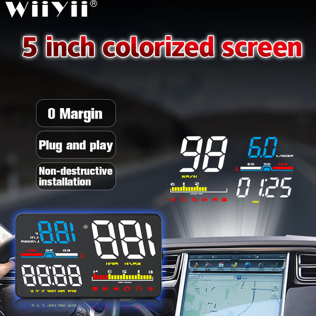 D5000 HUD Car Head Up Display OBD2 Diagnostic Tool Hud Display Digital Security Alarm Speedometer Windshield Screen Projector