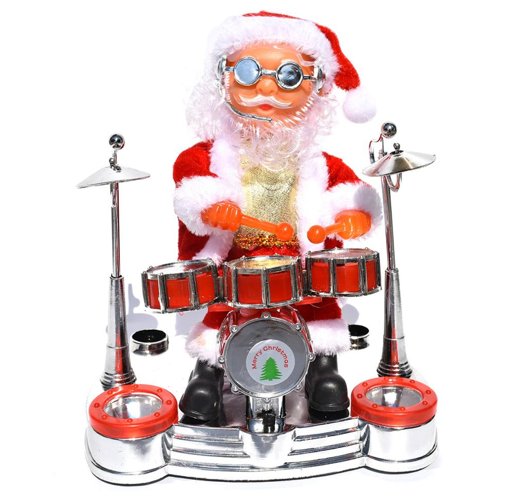 Kids Electric Santa Claus Playing Piano Music Dolls Saxophone Toys Playing Guitar Toys Drum Toys Christmas Costumes Decorations