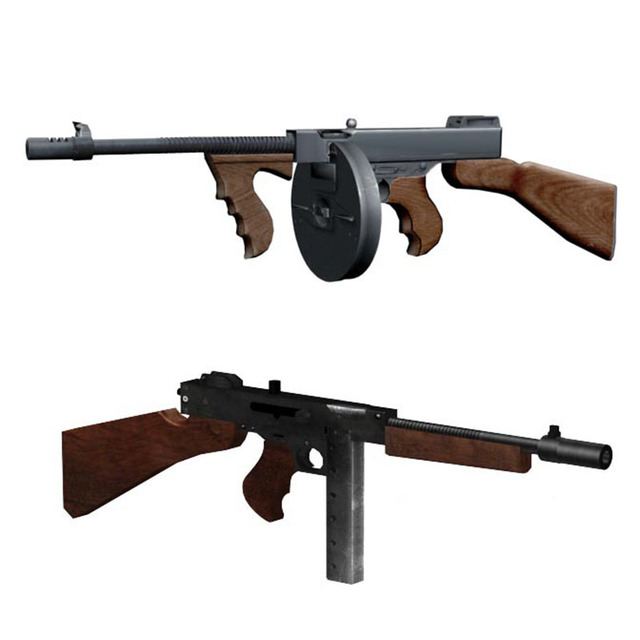 1:1 Scale Thompson M1928 Gun Model Papercraft Toy DIY 3D Paper Card Military Model Handmade Toys for Boy Gift 2