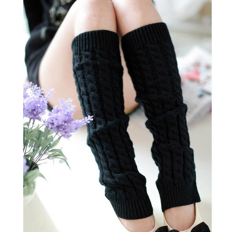 Hot Fashion Leg Warmers Women Warm Knee High Winter Knit Solid Crochet Leg Warmer Socks Warm Boot Cuffs Beenwarmers Long Socks