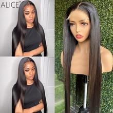 ALICE – perruque Lace Front wig Non Remy lisse, cheveux naturels, 13x6 T, 150% de densité, avec fermeture sur le cuir chevelu
