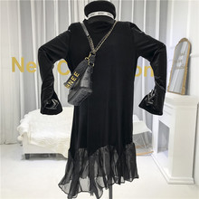Black Patchwork Winter Dresses Women 2019 A-Line  Vintage  Mid-Calf  O-Neck  Long Sleeve Dress  Dresses Woman Party Night цена
