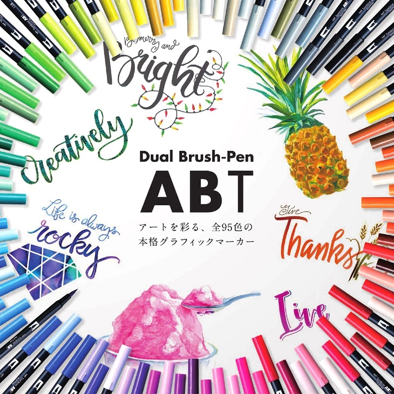 TOMBOW AB-T Japan 96 Colors Art Brush Pen Double Heads Marker Profession Water Marker Pen For Painting Stationery Kawaii