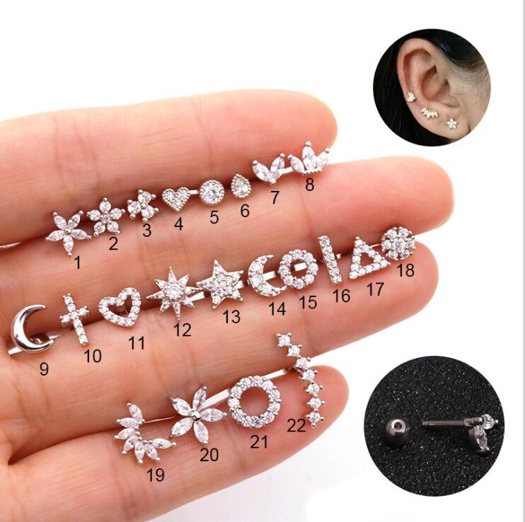 Gold Silver Color Cz Cartilage Stud Moon Star Heart Cross Flower Crown Geometric Helix Piercing Tragus Stud Conch Earring