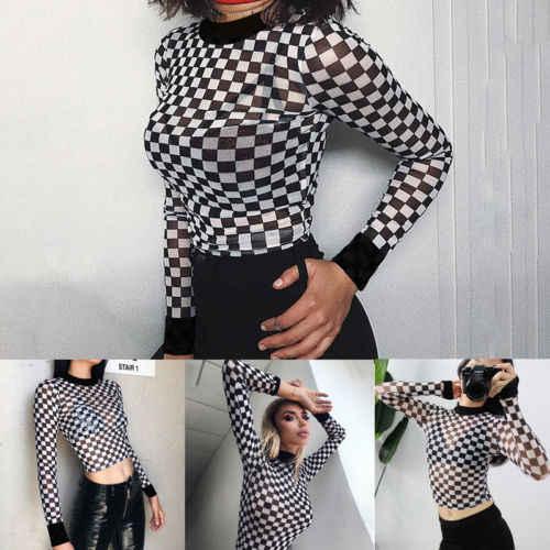 New Black Bianco Scacchiera Plaid Skinny Maglietta Delle Donne Della Maglia Trasparente Sottile Magliette e camicette Magliette Femminile T-Shirt T Shirt A Manica Lunga