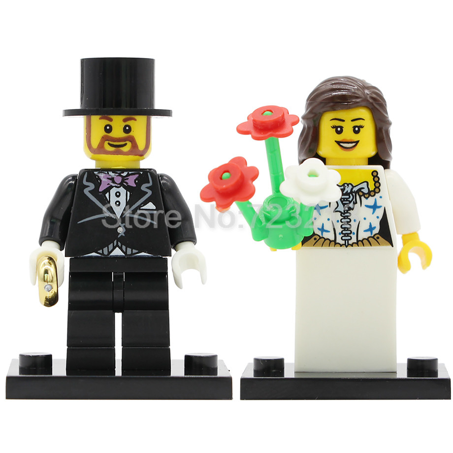 Wedding Bride Bridegroom Figure Couple Lovers Husband Wife Flower Decoration Building Blocks Sets Models Bricks Toys Legoing