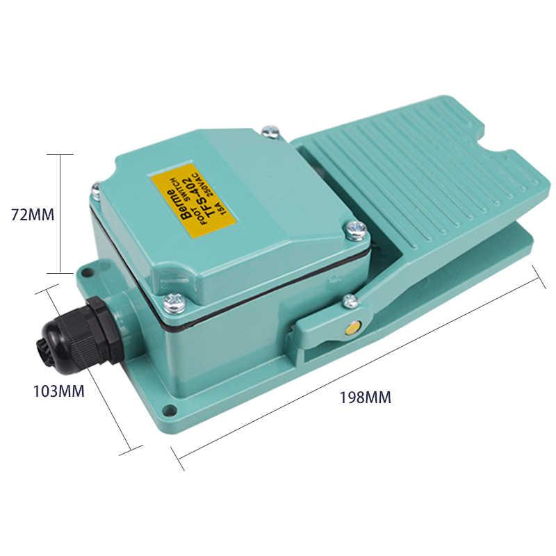 1 PCS AC 250V 15A 1NO 1NC Momentary Treadle Pedal Fuß Schalter w Kabelverschraubung TFS-402 Grün