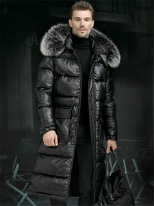 Coat Jacket Men Real-Fur Cowhide Warm X-Long 40-Degrees Top-Layer Hooded Minus Duck-Down
